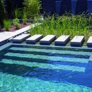 pool und grüne Filterzone kombiniert mit einem fertigen Becken von Rivierapool